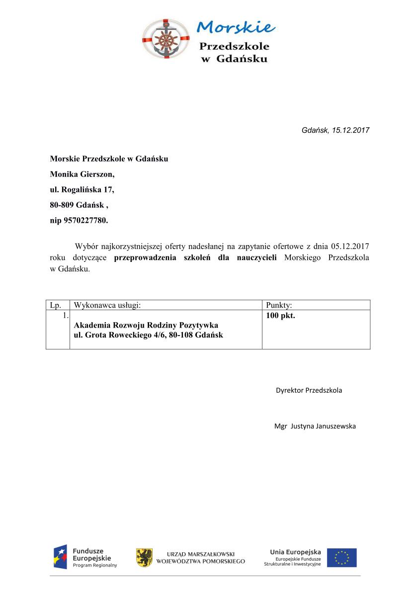 Wyniki zapytania ofertowego 5/2017