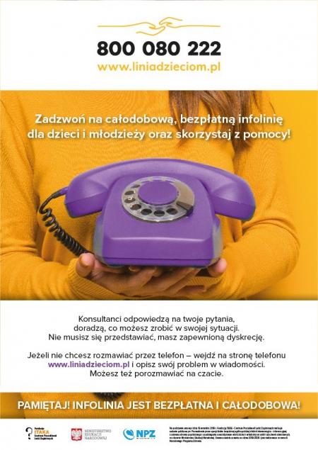 Rusza całodobowa bezpłatna infolinia dla dzieci, młodzieży, rodziców i nauczycieli - 800 080 222