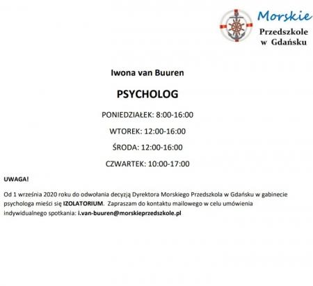 Psycholog- godziny pracy